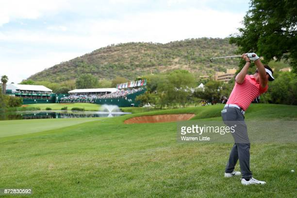 Scott Jamieson of Scotland hits his second shot on the 18th hole during the third round of the Nedbank Golf Challenge at Gary Player CC on November...