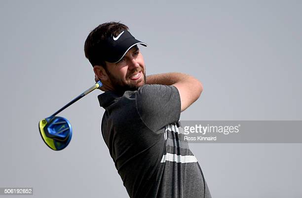Scott Jamieson of Scotland on the second tee during the second round of the Abu Dhabi HSBC Golf Championship at the Abu Dhabi Golf Club on January 22...