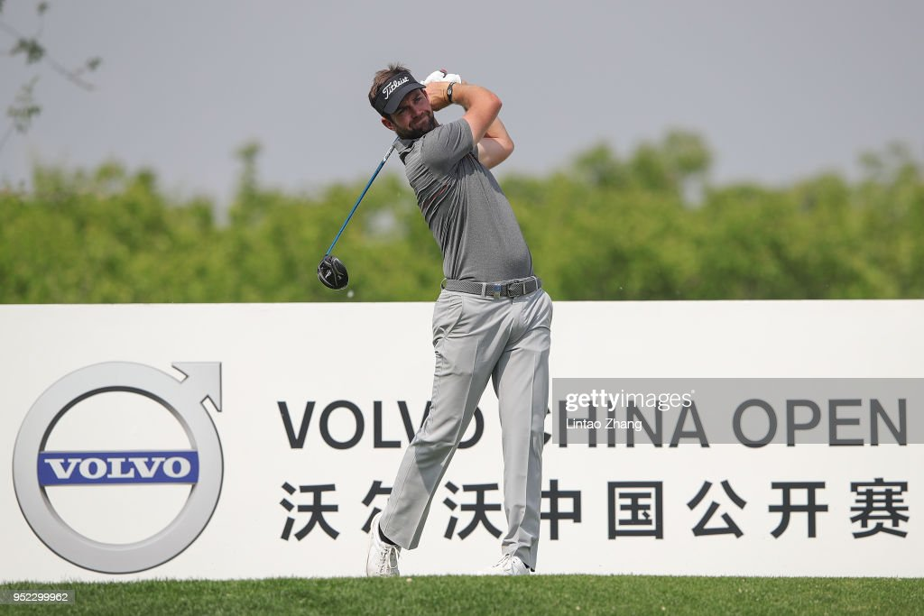 Scott Jamieson of Scotland plays a shot during the day three of the 2018 Volvo China Open at Topwin Golf and Country Club on April 28, 2018 in Beijing, China.