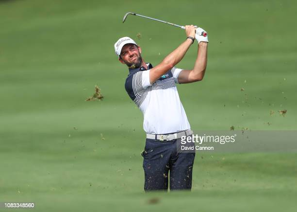 Scott Jamieson of Scotland plays his second shot on the par 4 14th hole during the final round of the Alfred Dunhill Championships at Leopard Creek...