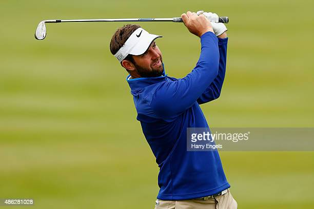 Scott Jamieson of Scotland plays his second shot on the thirteenth hole on day one of the M2M Russian Open at Skolkovo Golf Club on September 3 2015...
