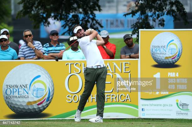 Scott Jamieson of Scotland tees off on the 1st during day three of the Tshwane Open at Pretoria Country Club on March 4 2017 in Pretoria South Africa