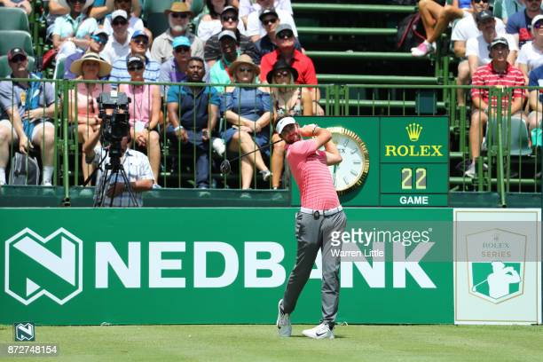Scott Jamieson of Scotland tees off on the 1st hole during the third round of the Nedbank Golf Challenge at Gary Player CC on November 11 2017 in Sun...