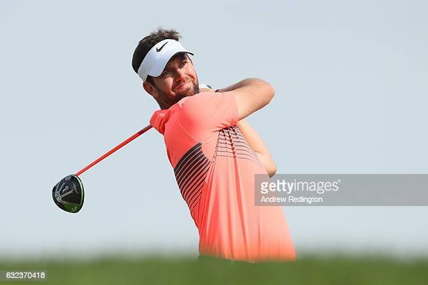 Scott Jamieson of Scotland tees off on the 3rd hole during the final round of the Abu Dhabi HSBC Championship at Abu Dhabi Golf Club on January 22...