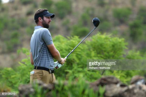 Scott Jamieson of Scotland tees off on the 5th hole during the final round of the Nedbank Golf Challenge at Gary Player CC on November 12 2017 in Sun...