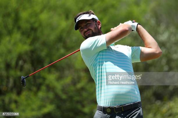 Scott Jamieson of Scotland tees off on the 8th hole during the first round of the Nedbank Golf Challenge at Gary Player CC on November 9 2017 in Sun...
