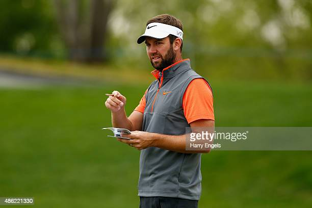 Scott Jamieson of Scotland waits to putt at the third hole during the proam ahead of the M2M Russian Open at Skolkovo Golf Club on September 2 2015...