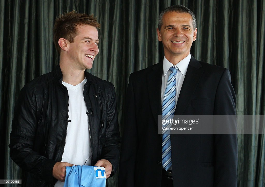 Scott Jamieson of Sydney FC and coach Vitezslav Lavicka talk to media during a Sydney FC A-League press conference announcing Jamieson's signing at Sydney Tower on May 21, 2010 in Sydney, Australia.