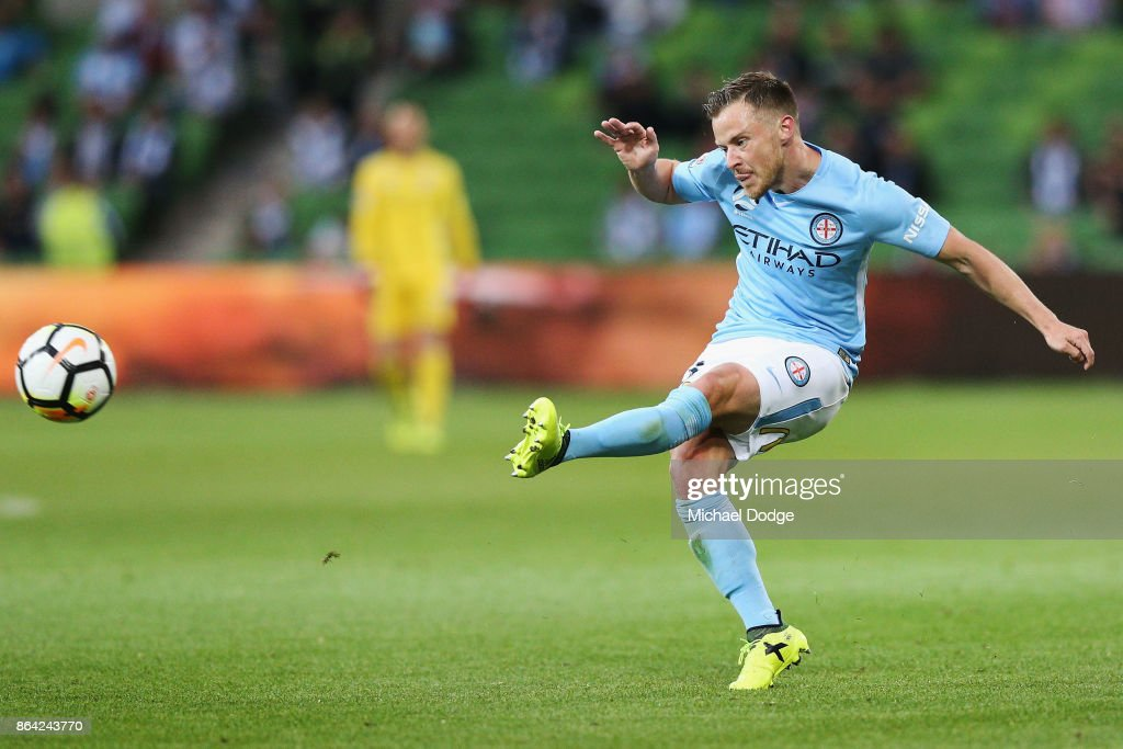 Scott Jamieson of the City kicks the ball during the round three A-League match between Melbourne City and the Wellington Phoenix at AAMI Park on October 21, 2017 in Melbourne, Australia.