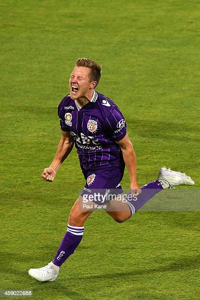 Scott Jamieson of the Glory celebrates after scoring a goal during the round six ALeague match between the Perth Glory and Western Sydney Wanderers...