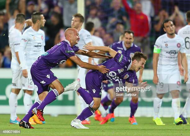 Scott Jamieson of the Glory celebrates after scoring a goal from a free kick during the round six ALeague match between the Perth Glory and Western...