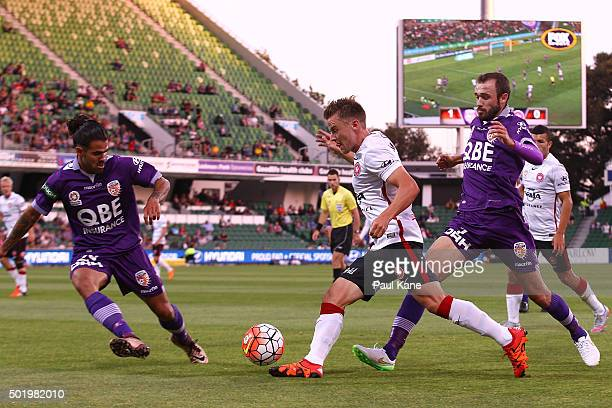 Scott Jamieson of the Wanderers controls the ball during the round 11 ALeague match between the Perth Glory and the Western Sydney Wanderers at nib...