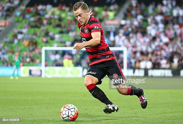 Scott Jamieson of the Wanderers controls the ball during the round 14 ALeague match between Melbourne City FC and the Western Sydney Wanderers at...