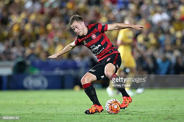 Scott Jamieson of the Wanderers in action during the round 16 ALeague match between the Central Coast Mariners and the Western Sydney Wanderers at...