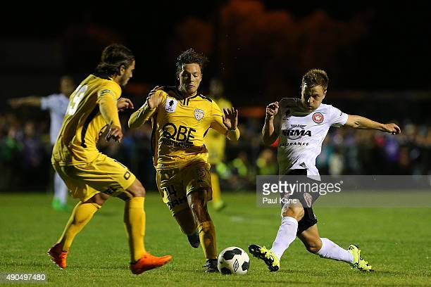 Scott Jamieson of the Wanderers passes the ball during the FFA Cup Quarter Final match between the Perth Glory and Western Sydney Wanderers at...
