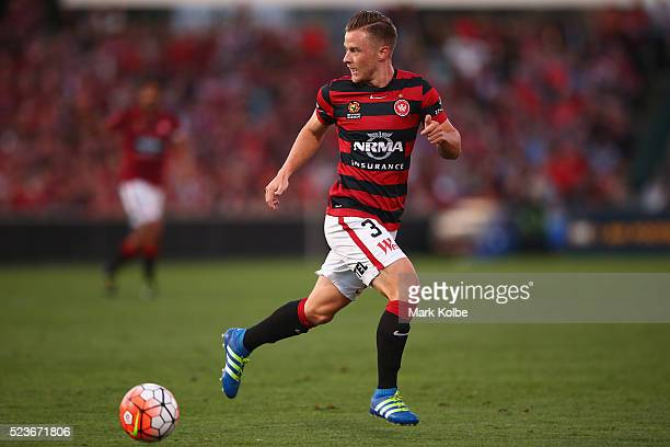 Scott Jamieson of the Wanderers runs with the ball during the ALeague Semi Final match between the Western Sydney Wanderers and the Brisbane Roar at...