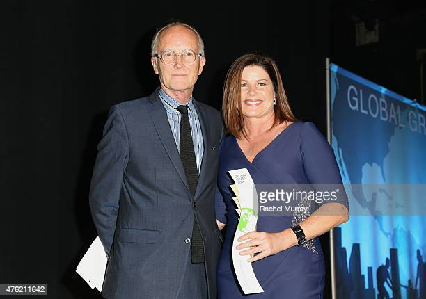 Scott Johnson and JMB Realty Award honoree Sarah Shaw onstage during the Global Green USA 19th Annual Millennium Awards on June 6 2015 in Century...