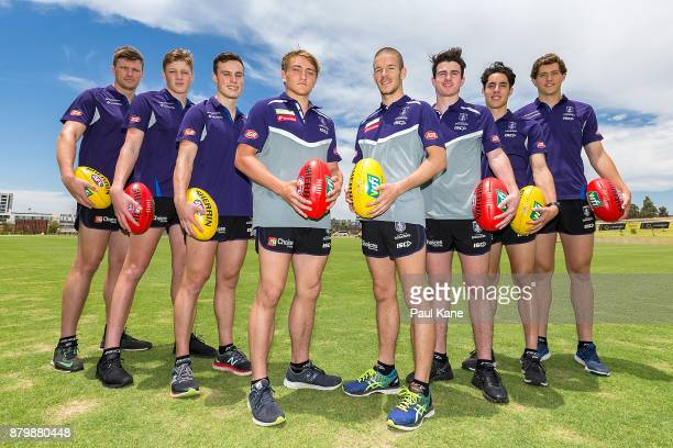 Scott Jones Hugh Dixon Tom North Mitchell Crowden Sam Switkowski Andrew Brayshaw Adam Cerra and Lloyd Meek pose following a Fremantle Dockers AFL...
