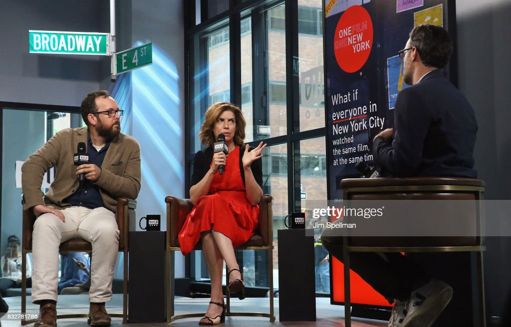 A.O. Scott, Julie Menin and moderator Ricky Camilleri attend Build to discuss The One Film, One New York campaign at Build Studio on August 16, 2017 in New York City.