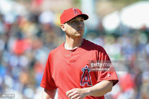 Scott Kazmir of the Los Angeles Angels of Anaheim walks to the dugout during a Spring Training game against the Los Angeles Dodgers on March 15 2010...