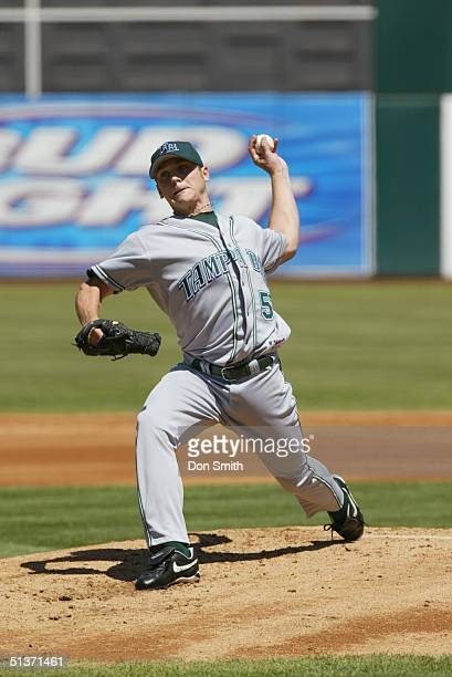Scott Kazmir of the Tampa Bay Devil Rays bats during the MLB game against the Oakland A's at the Network Associates Coliseum on August 29 2004 The...