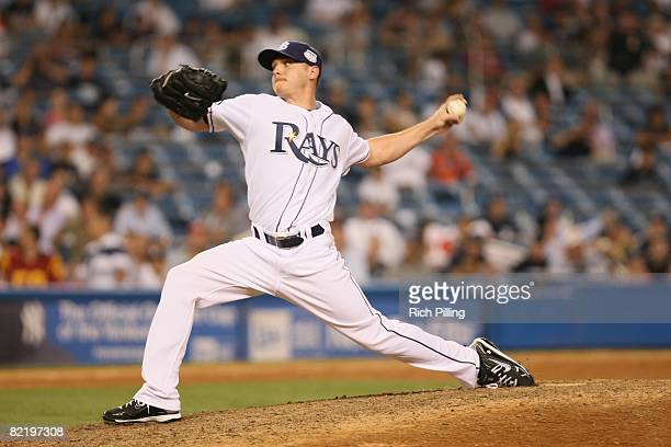 Scott Kazmir of the Tampa Bay Rays pitches during the 79th MLB AllStar Game at the Yankee Stadium in the Bronx New York on July 15 2008 The American...