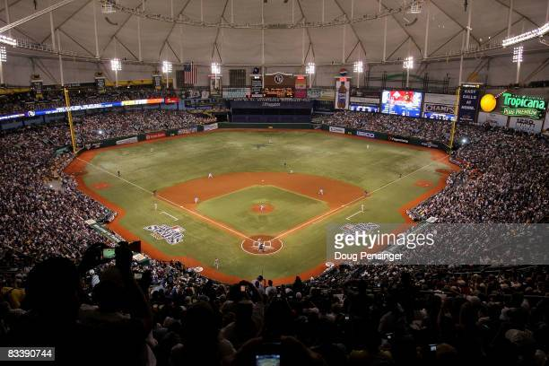Scott Kazmir of the Tampa Bay Rays throws the first pitch of the game against the Philadelphia Phillies during game one of the 2008 MLB World Series...