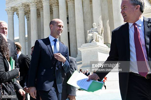 Scott Keller , Texas Solicitor General, and Ken Paxton , Texas Attorney General, leave the US Supreme Court after arguments in United States vs Texas...