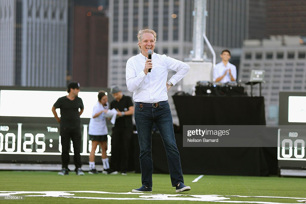 Scott Keogh, President of Audi America gives opening remarks at the Audi Soccer Pick-Up Game at Pier 2 at Brooklyn Bridge Park on July 30, 2014 in Brooklyn borough of New York City.