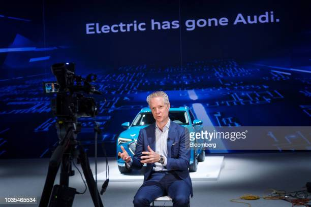 Scott Keogh president of Audi of America Inc speaks during a Bloomberg Television interview in San Francisco California US on Tuesday Sept 18 2018...