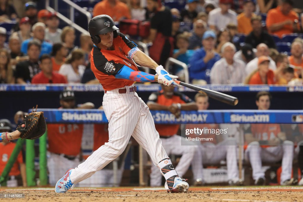 Scott Kingery #25 of the Philadelphia Phillies and the U.S. Team swings at a pitch against the World Team during the SiriusXM All-Star Futures Game at Marlins Park on July 9, 2017 in Miami, Florida.