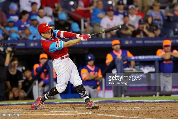 Scott Kingery of the Philadelphia Phillies bats during the 2018 Little League Classic against the New York Mets at Historic Bowman Field on Sunday...