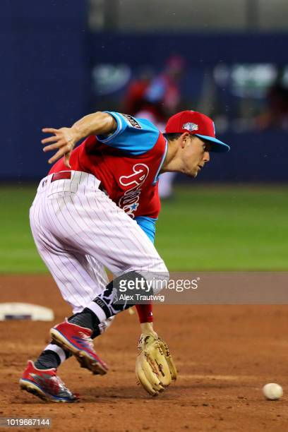 Scott Kingery of the Philadelphia Phillies fields a ground ball during the 2018 Little League Classic against the New York Mets at Historic Bowman...