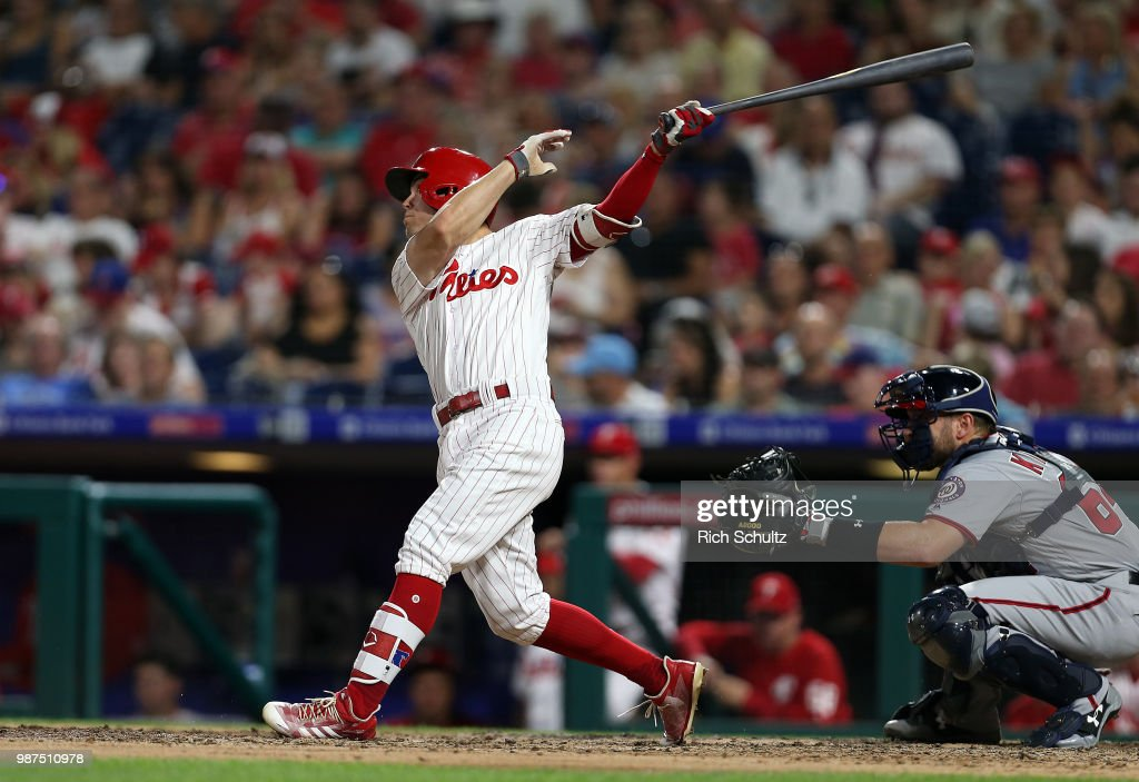 Scott Kingery #4 of the Philadelphia Phillies hits a home run against the Washington Nationals during the fifth inning of a game at Citizens Bank Park on June 29, 2018 in Philadelphia, Pennsylvania. The Nationals defeated the Phillies 17-7.