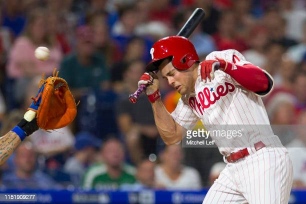 Scott Kingery of the Philadelphia Phillies is hit by a pitch in the bottom of the sixth inning against the New York Mets at Citizens Bank Park on...