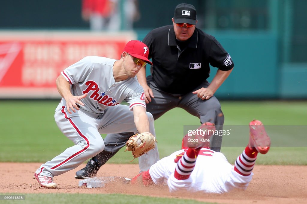 Scott Kingery #4 of the Philadelphia Phillies is unable to put the tag on Dexter Fowler #25 of the St. Louis Cardinals as he steels second base during the sixth inning at Busch Stadium on May 20, 2018 in St. Louis, Missouri.
