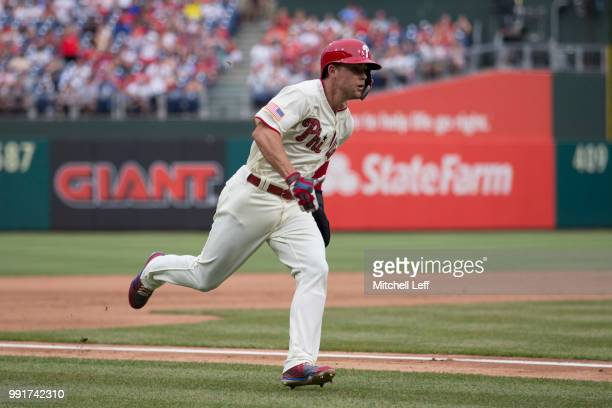 Scott Kingery of the Philadelphia Phillies runs home in the bottom of the fifth inning against the Baltimore Orioles at Citizens Bank Park on July 4...
