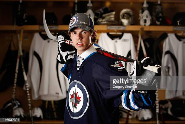 Scott Kosmachuk 70th overall pick by the Winnipeg Jets poses for a portrait during the 2012 NHL Entry Draft at Consol Energy Center on June 23 2012...