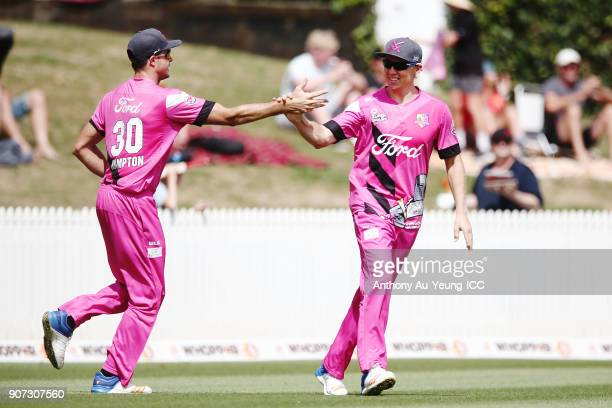 Scott Kuggeleijn and Brett Hampton of the Knights celebrate the wicket of Jesse Ryder of the Stags during the Super Smash Grand Final match between...