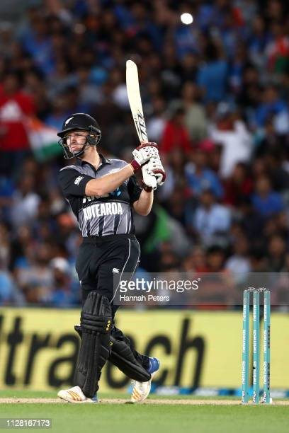 Scott Kuggeleijn of the Black Caps bats during game two of the International T20 Series between the New Zealand Black Caps and India at Eden Park on...