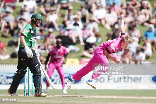 Scott Kuggeleijn of the Knights bowls during the Super Smash Grand Final match between the Knights and the Stags at Seddon Park on January 20 2018 in...