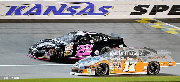 Scott Lagasse Jr runs in first ahead of Corey LaJoie car early in the ARCA Racing Series race at the Kansas Speedway in Kansas City Kansas Friday...