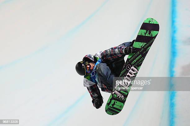 Scott Lago of The United States competes in the Snowboard Men's Halfpipe on day six of the Vancouver 2010 Winter Olympics at Cypress Snowboard...