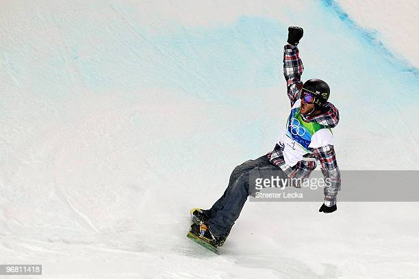 Scott Lago of the United States reacts after his run in the Snowboard Men's Halfpipe final on day six of the Vancouver 2010 Winter Olympics at...