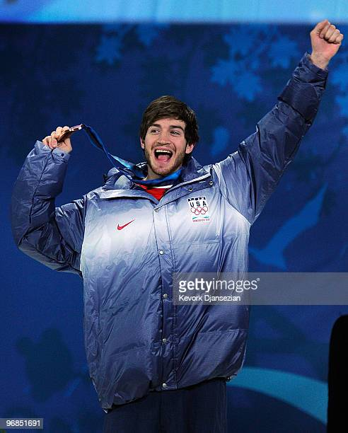 Scott Lago of United States celebrates his bronze medal during the medal ceremony for the Men�s Halfpipe on day 7 of the Vancouver 2010 Winter...