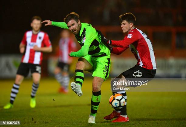 Scott Laird of Forest Green Rovers and Liam McAlinden of Exeter City during the Emirates FA Cup Second Round Replay between Exeter City and Forest...