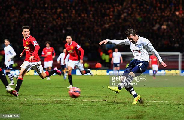 Scott Laird of Preston North End scores the opening goal during the FA Cup Fifth round match between Preston North End and Manchester United at...
