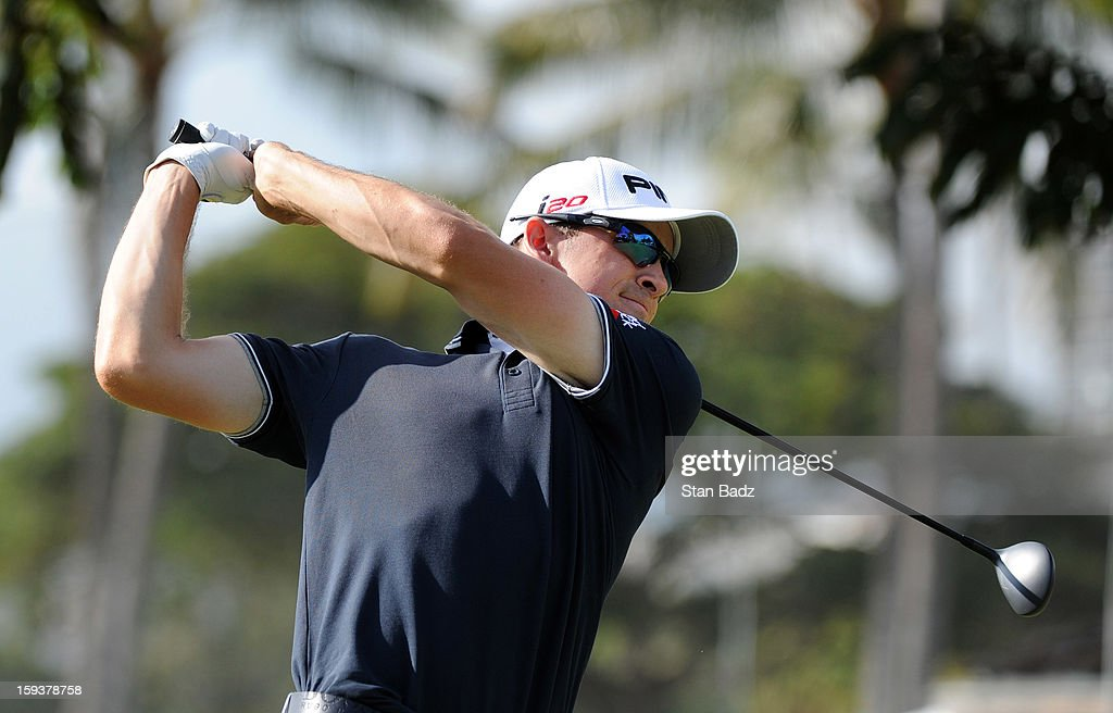 Scott Langley hits a drive on the tenth hole during the third round of the Sony Open in Hawaii at Waialae Country Club on January 12, 2013 in Honolulu, Hawaii.