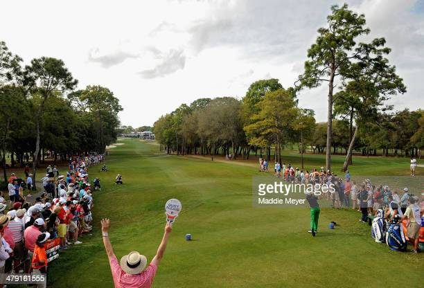 Scott Langley hits a tee shot on the 18th hole during the final round of the Valspar Championship at Innisbrook Resort and Golf Club on March 16,...