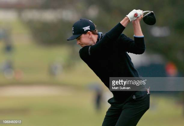 Scott Langley hits his tee shot on the 18th hole during the first round of the Sanderson Farms Championship at the Country Club of Jackson on October...